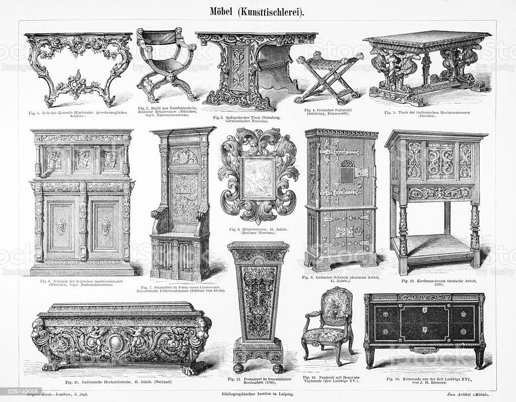 Furniture cabinet engraving 1895 stock photo