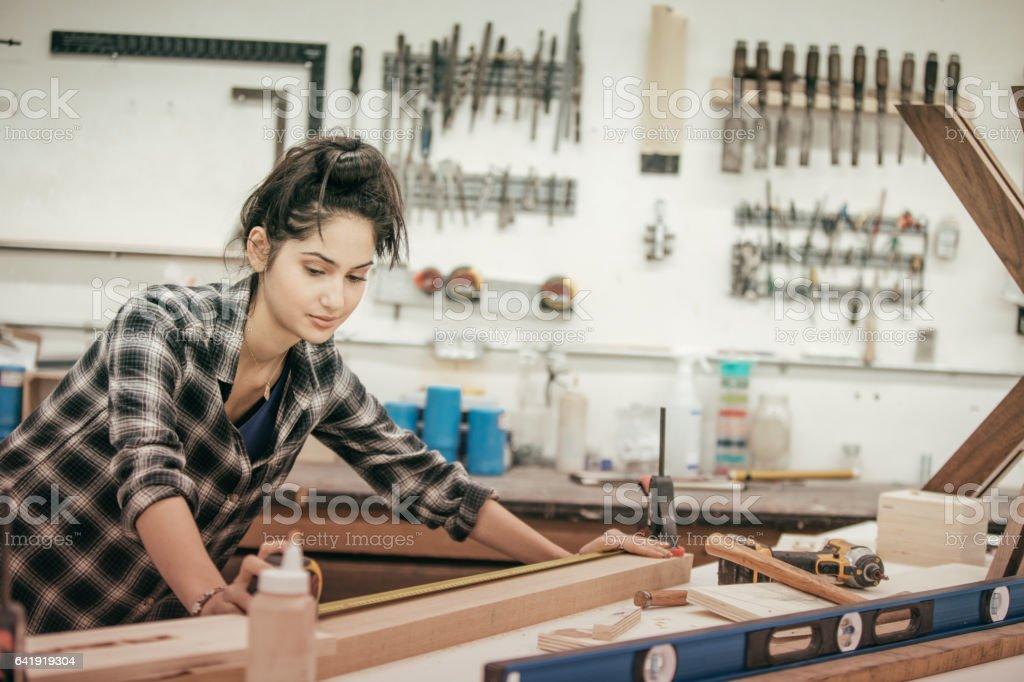 Furniture designer at work stock photo