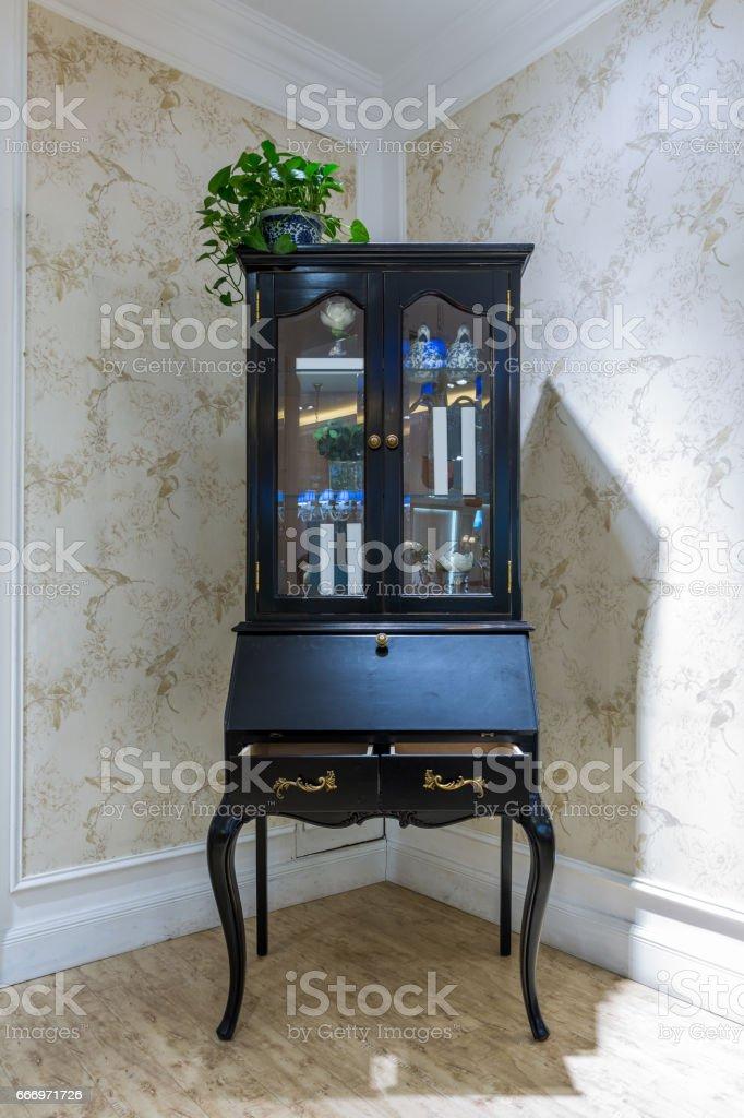 Furniture display, cabinet stock photo