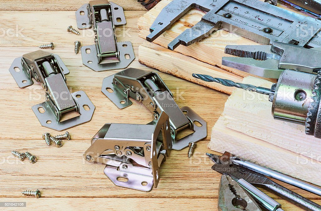Furniture fittings, hinges stock photo