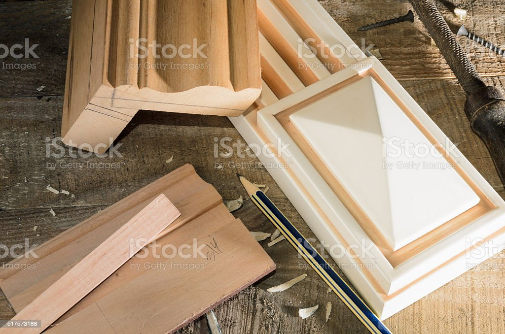 furniture parts during the manufacturing process stock photo