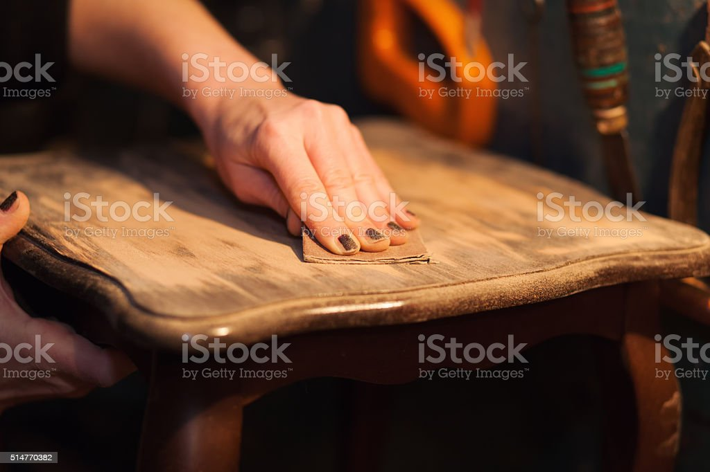 furniture restoration stock photo