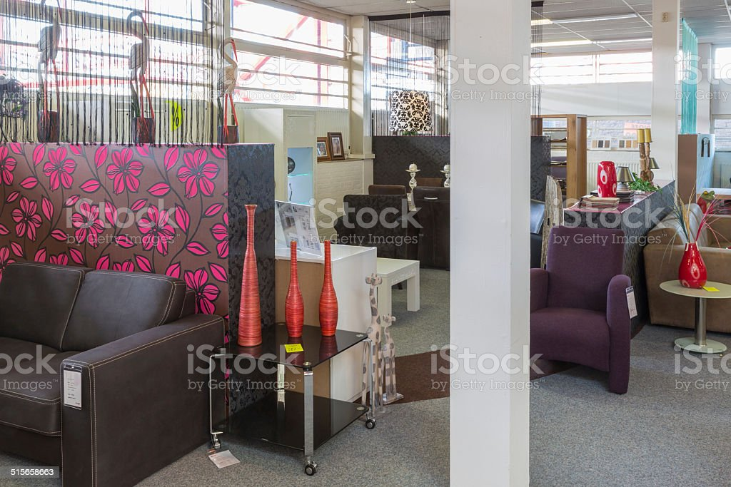Furniture showroom with tables and chairs stock photo