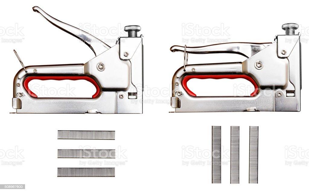 Furniture stapler isolated on white stock photo