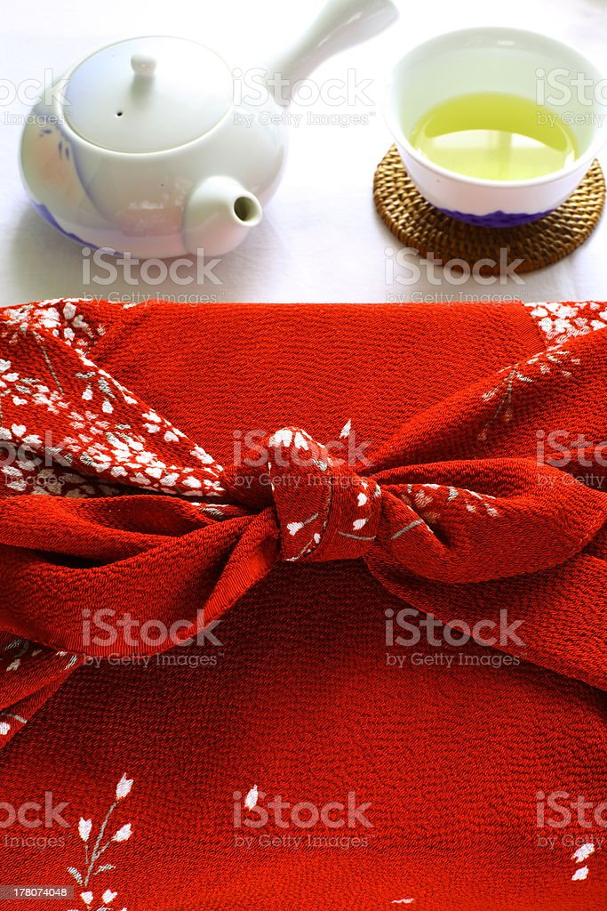 furoshiki wrapped present and green tea royalty-free stock photo