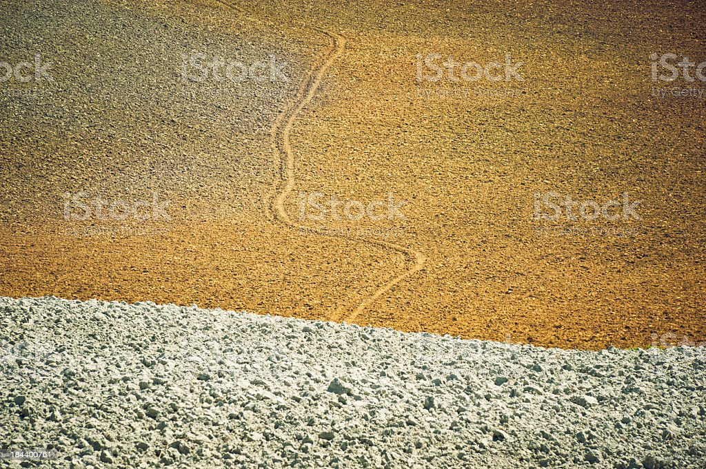 Furrow In The Crete Field,Val D'Orcia, Tuscany royalty-free stock photo