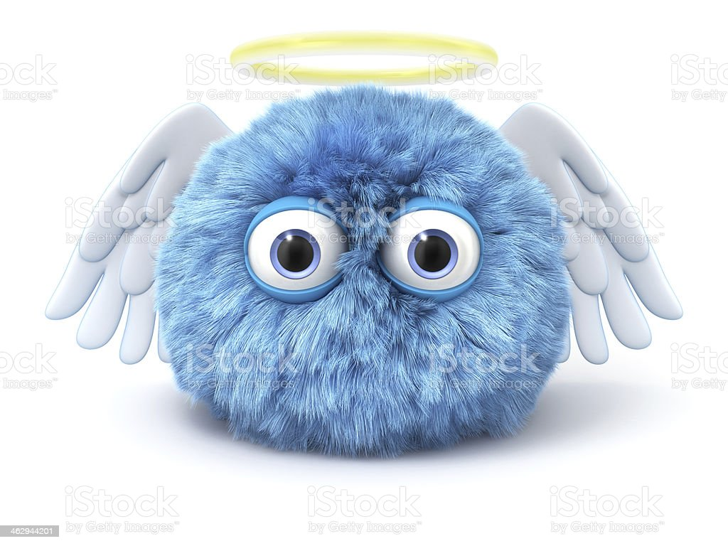 Furry blue angel with wings and halo isolated on white royalty-free stock photo