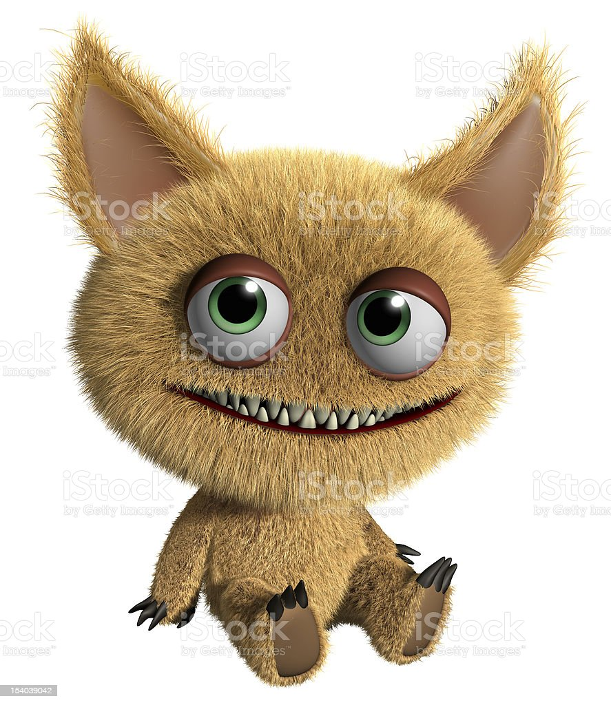 A furry cartoon gremlin on a white background stock photo