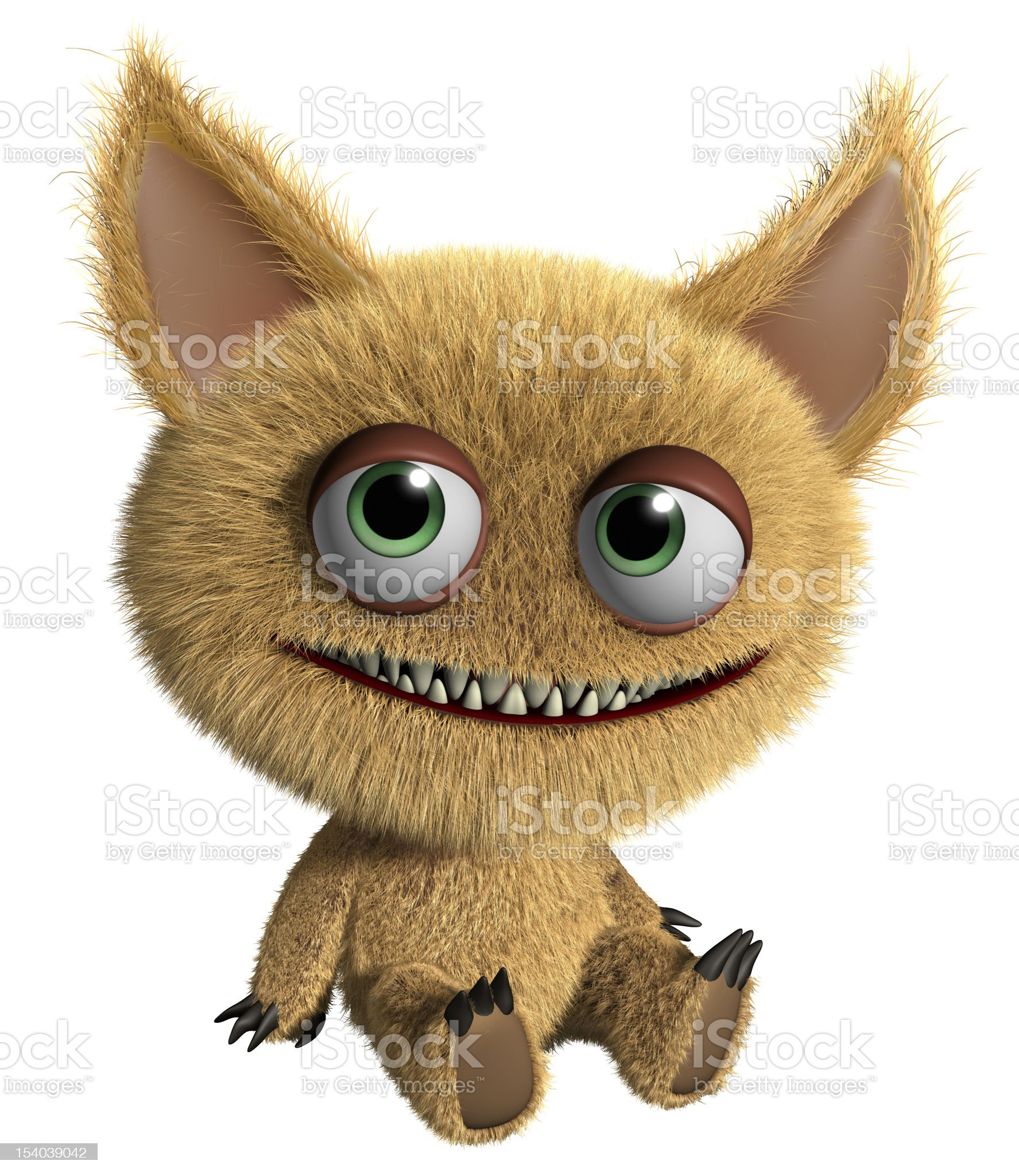 A furry cartoon gremlin on a white background royalty-free stock photo