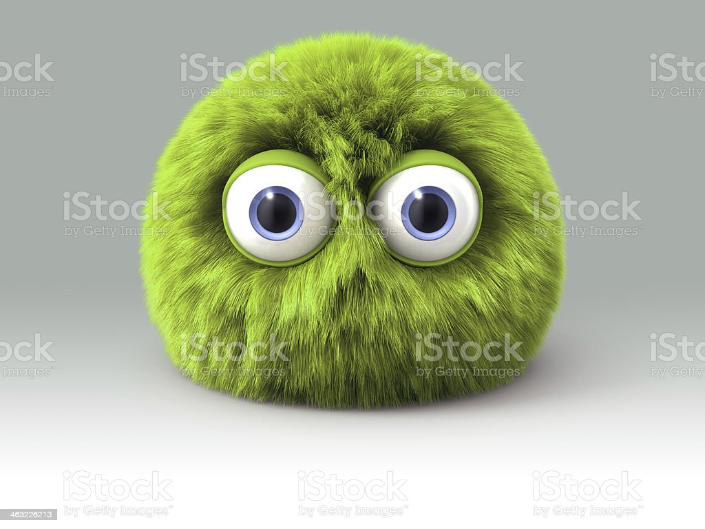 Furry green cartoon spherical monster character stock photo