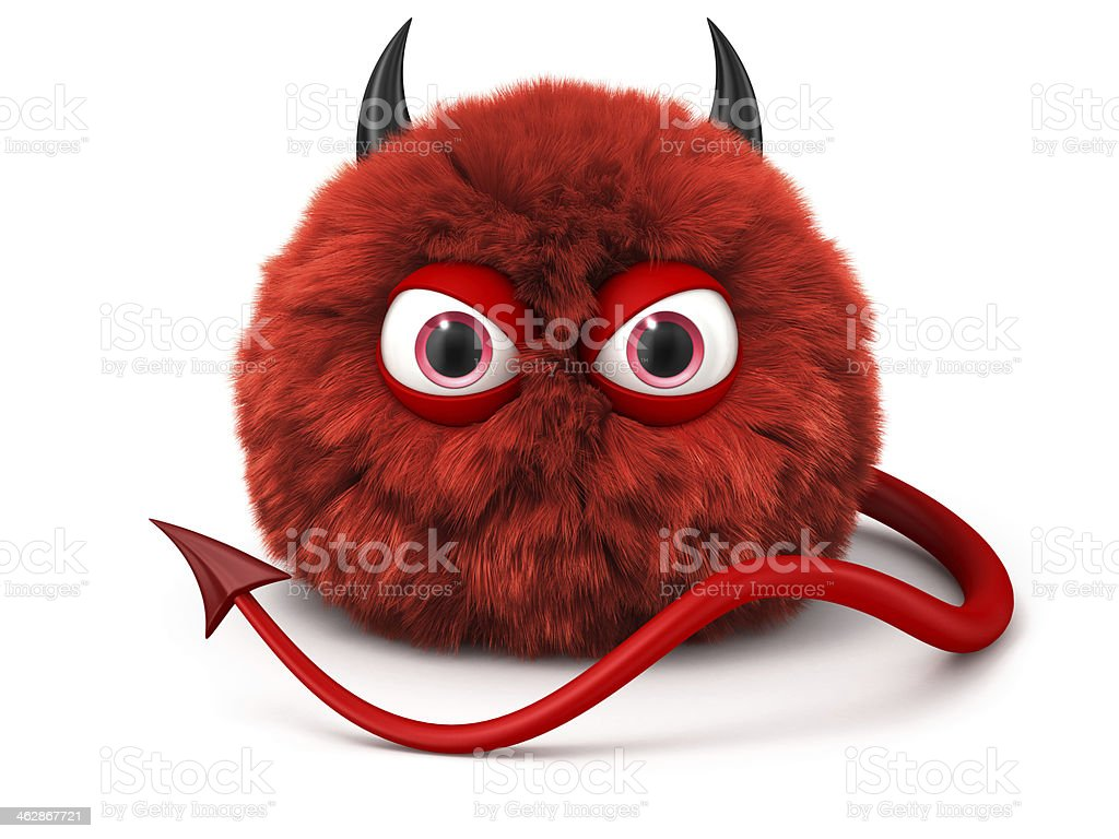 Furry red devil with tail and horns isolated on white stock photo