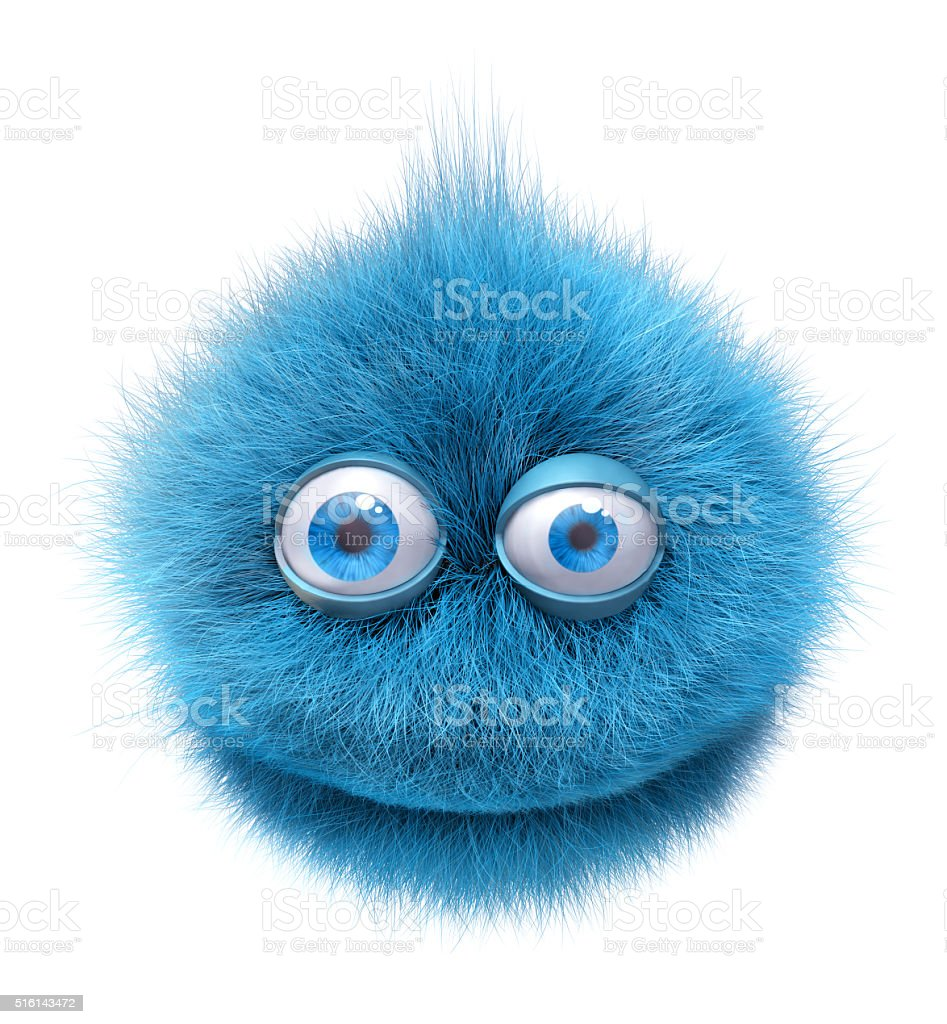 furry smiley character stock photo