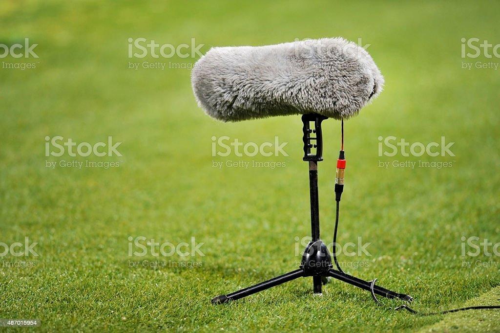 Furry sport microphone stock photo
