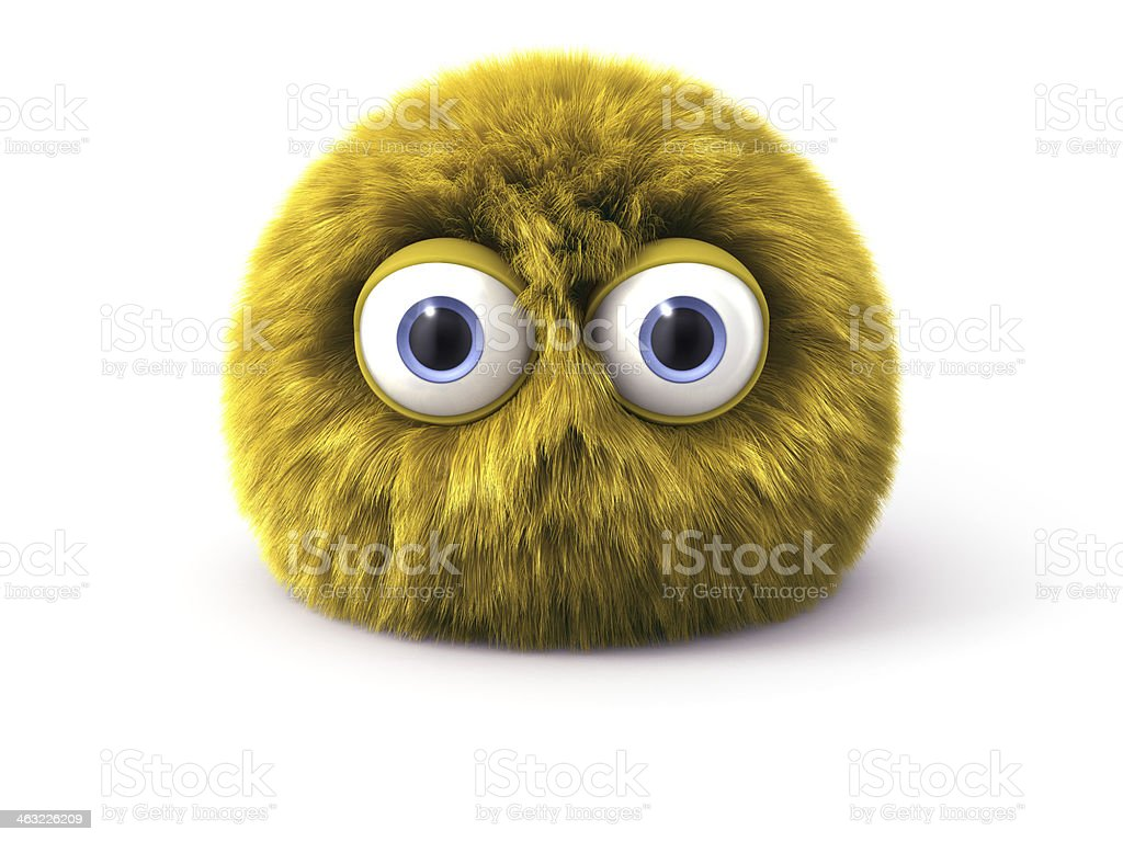 Furry yellow cartoon spherical character isolated on white stock photo