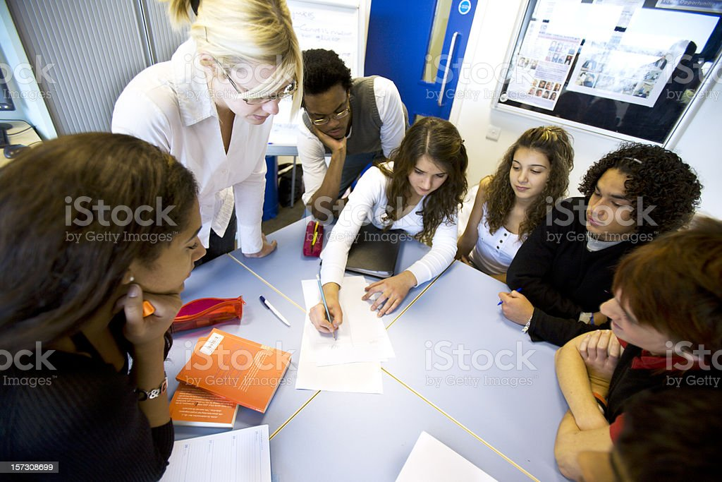 further education: brain storming in class royalty-free stock photo