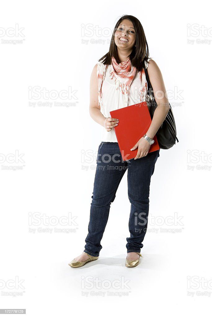 further education: full length, friendly Indian student ready for school royalty-free stock photo