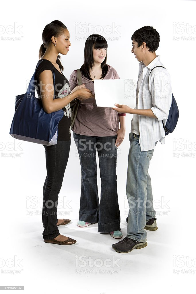 further education: full length portrait of classmates ready for school stock photo