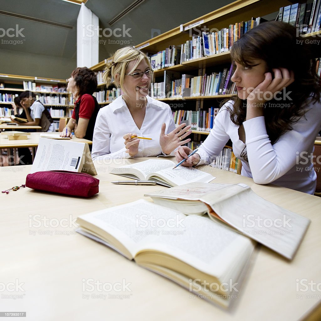further education: literary studies between a pupil and college librarian royalty-free stock photo