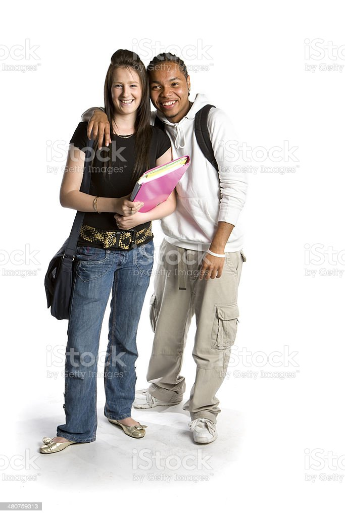 further education: relaxed smiles from friendly school friends royalty-free stock photo
