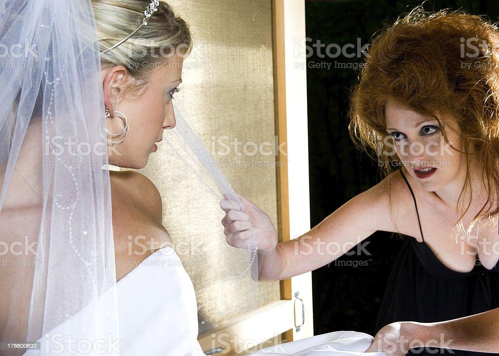 Fury Attacks Bride stock photo
