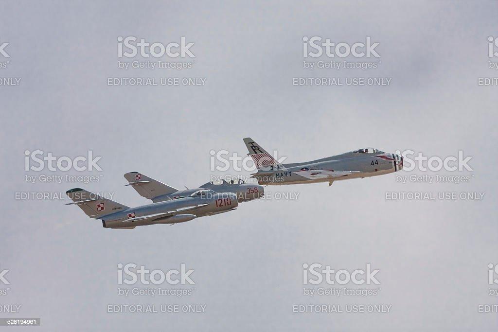 FJ-4B Fury & MiGs stock photo