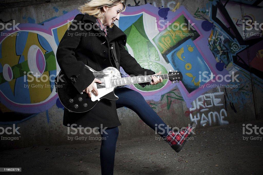 Fury rocker girl stock photo