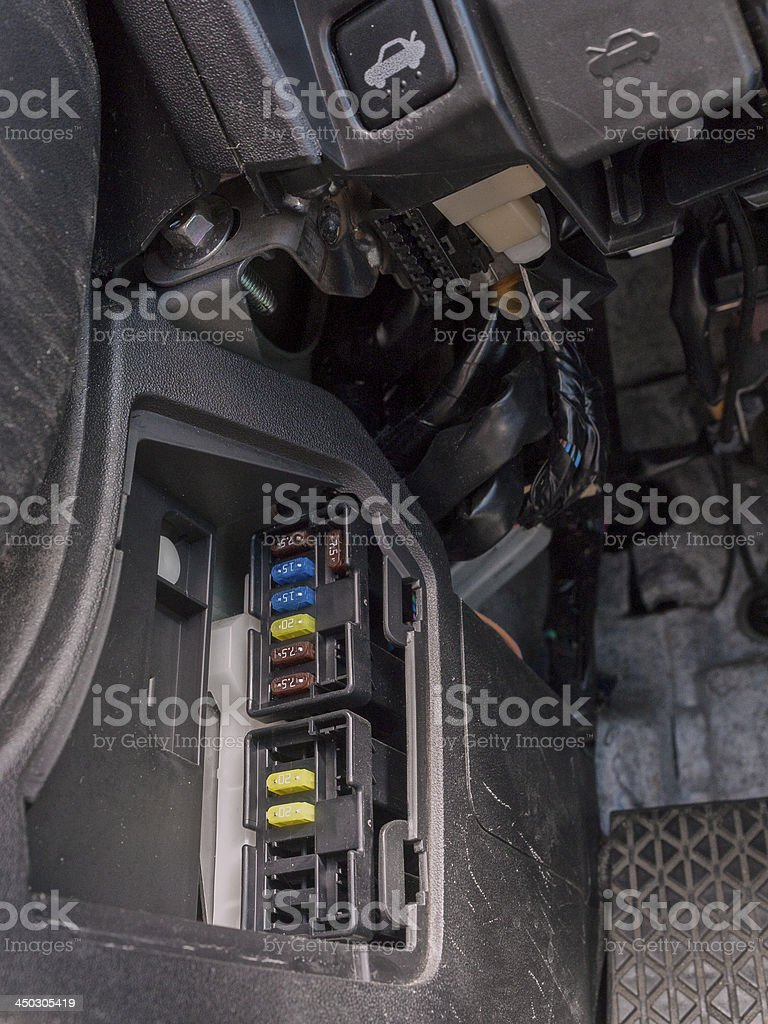 Fuse Box Area in Car Automotive Fuses stock photo