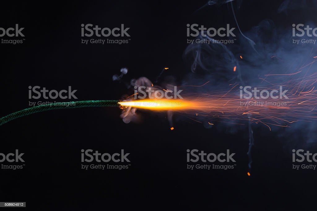 Fuse is burning stock photo