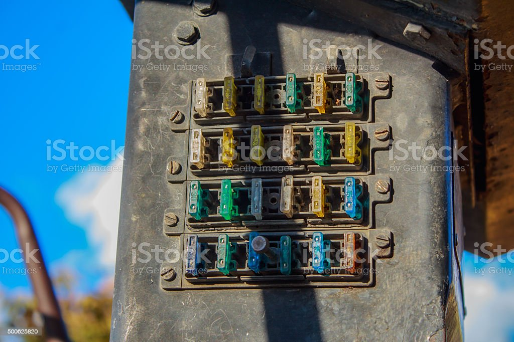 fuses in a car stock photo