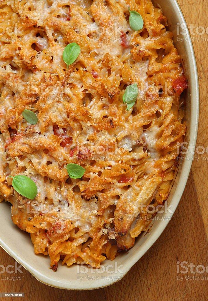 Fusilli Pasta Bake with Chicken stock photo