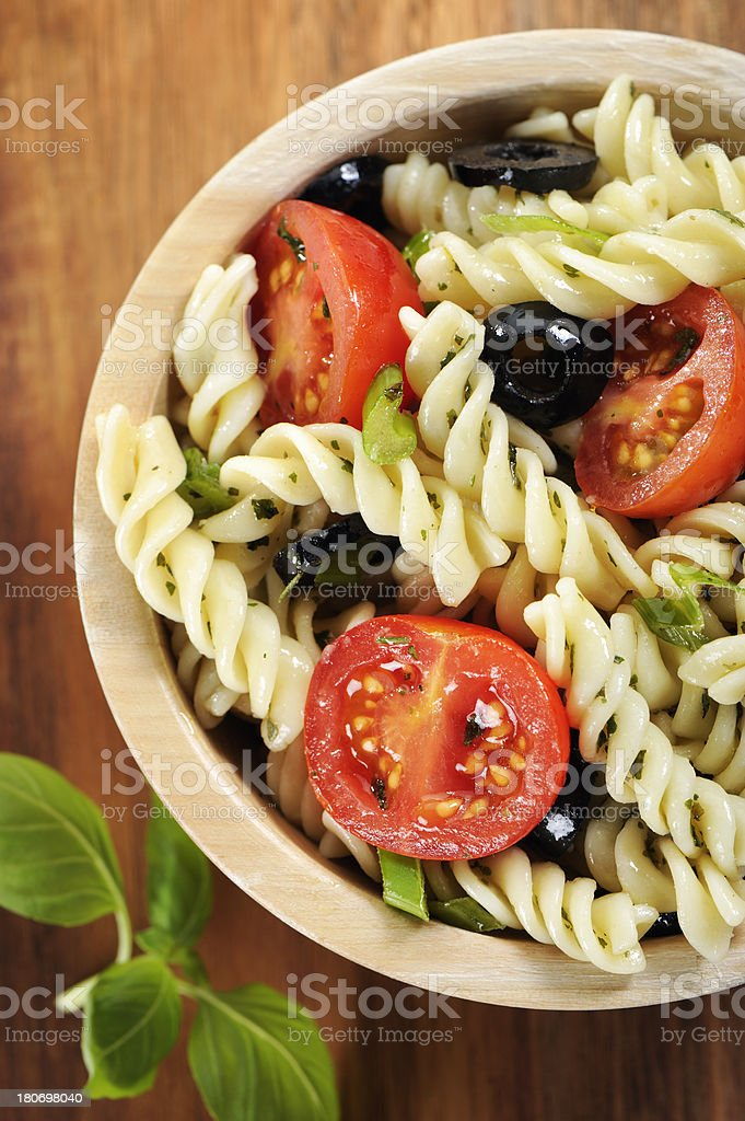 Fusilli pasta salad royalty-free stock photo