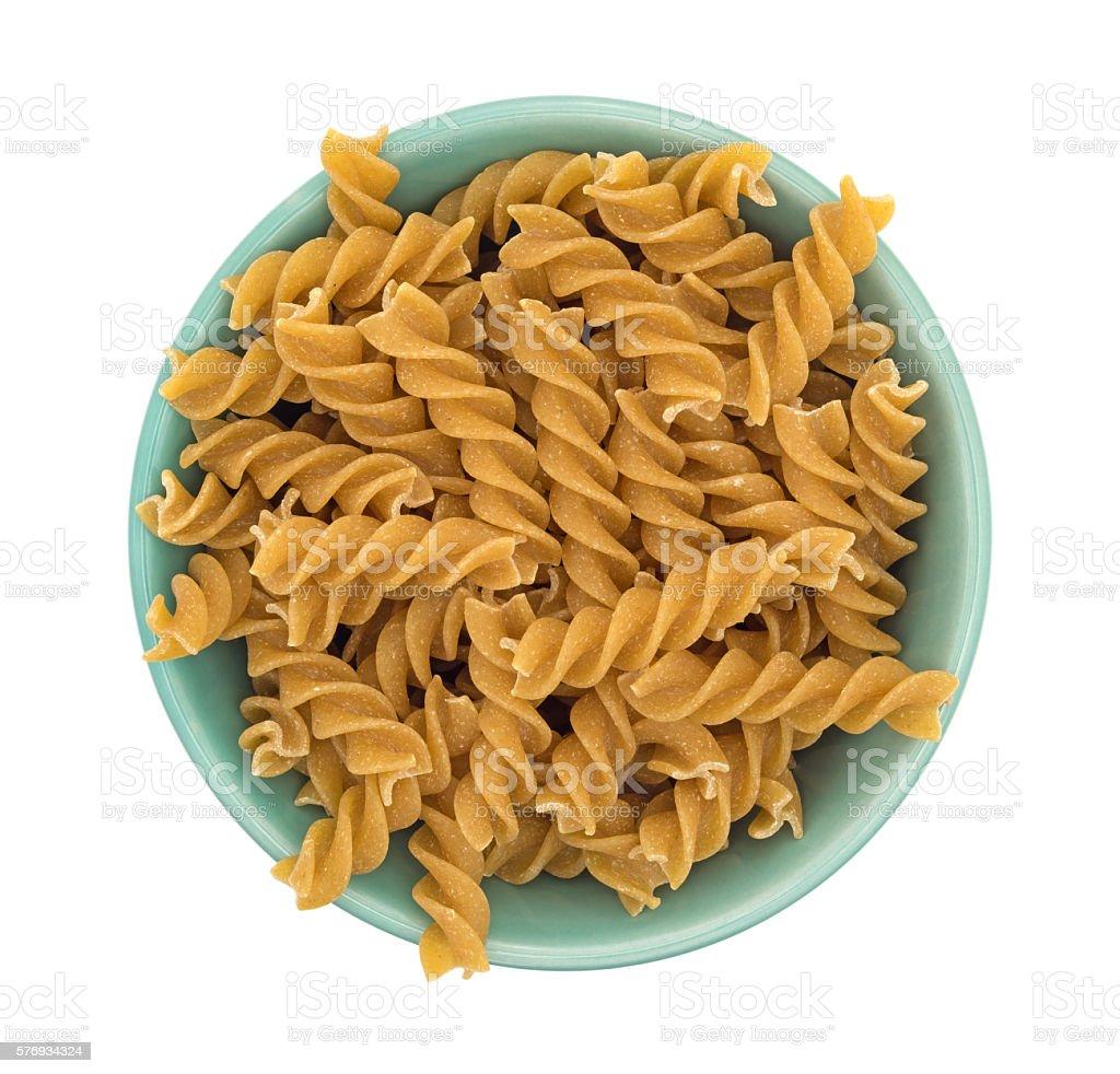 Fusilli whole wheat organic pasta in a bowl stock photo