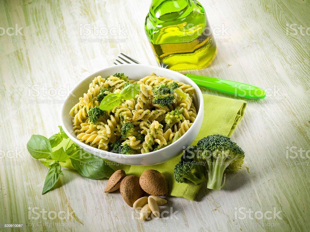 fusilli with broccoli and almond sauce stock photo
