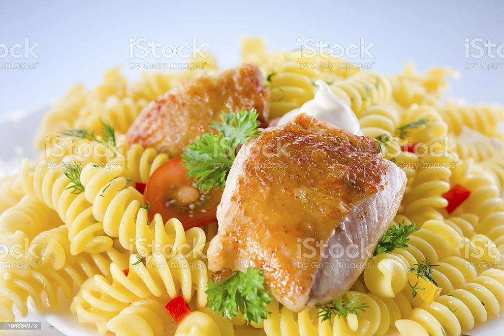 fusilli with chicken royalty-free stock photo