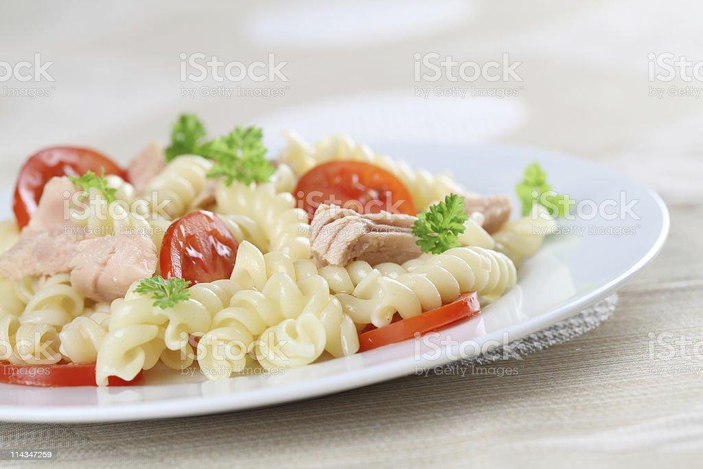 Fusilli with tuna stock photo