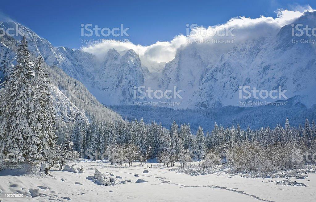 Fusine lakes basin stock photo