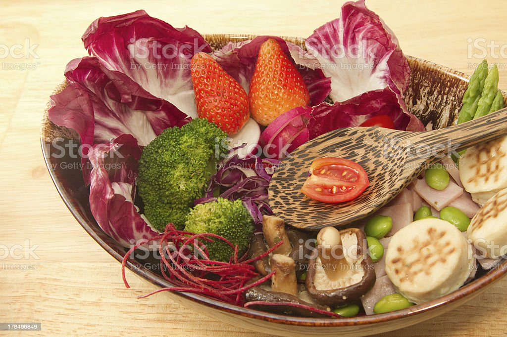 Fusion food,vegetable salad,ham and mursroom royalty-free stock photo
