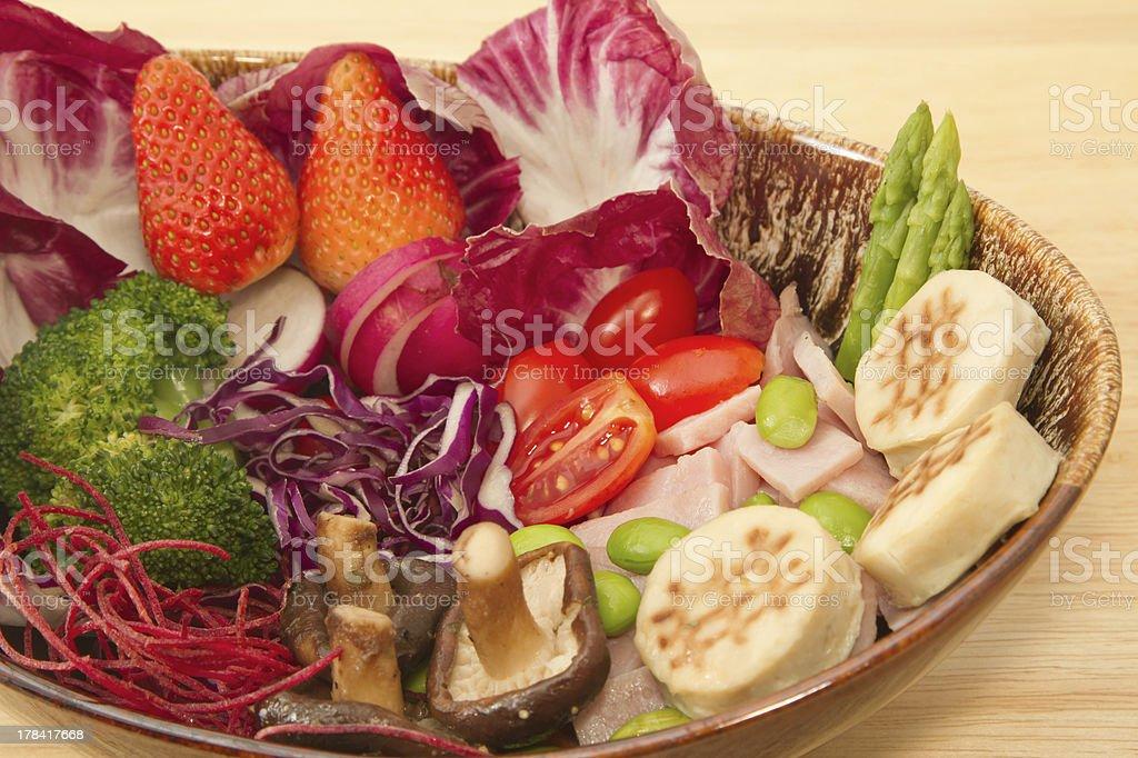 Fusion food,vegetable salad,ham and mushrooms royalty-free stock photo