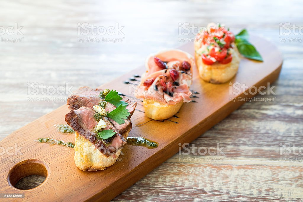 Fusion Mix Bruschetta, Italian Appetizer stock photo