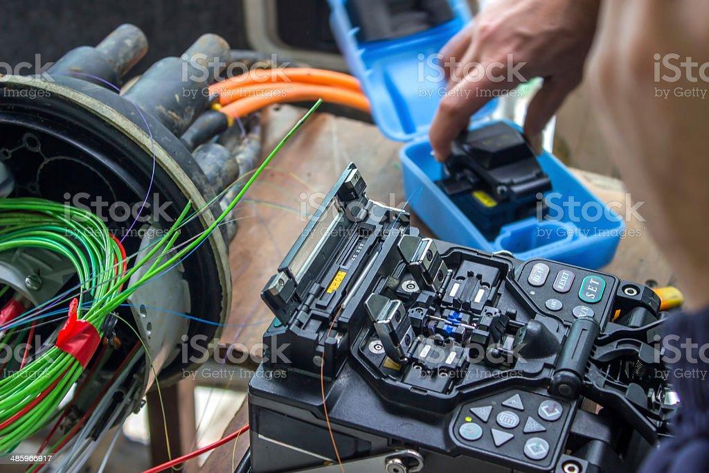 Fusion splicing machine, Fiber Optic Cable, Connectors, Terminat stock photo