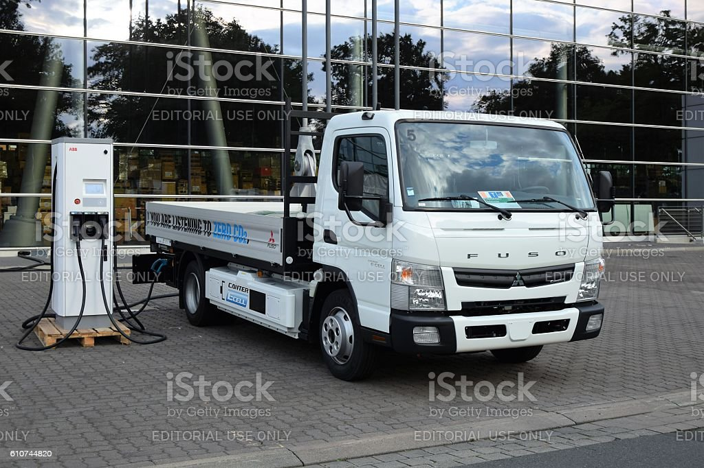 Fuso Canter e-Cell on the charging station stock photo