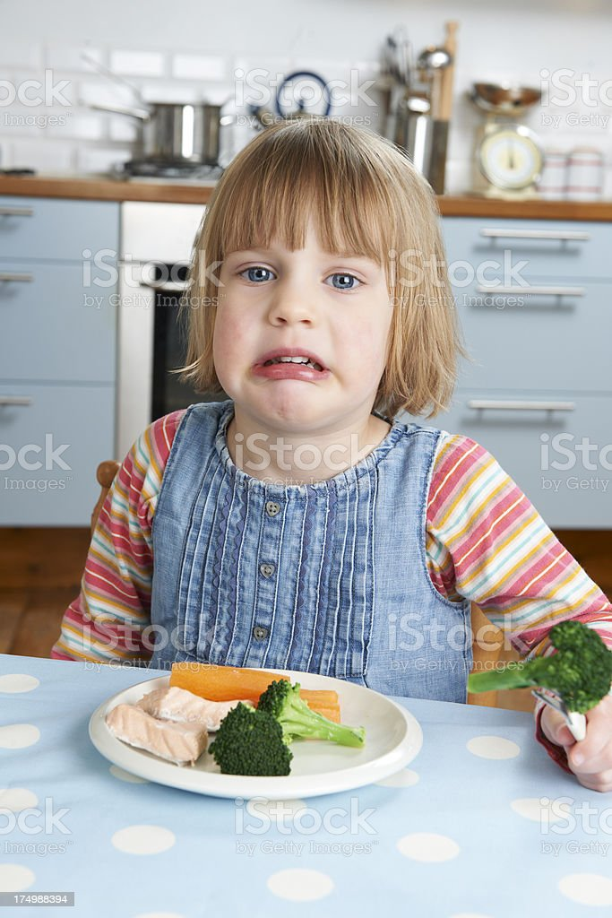 Fussy Child Not Eating Healthy Meal stock photo