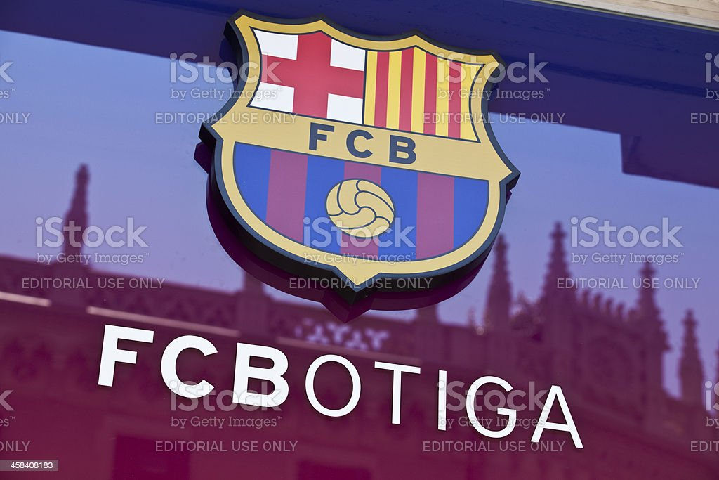 Futbol Club Barcelona's official shop and insignia. stock photo