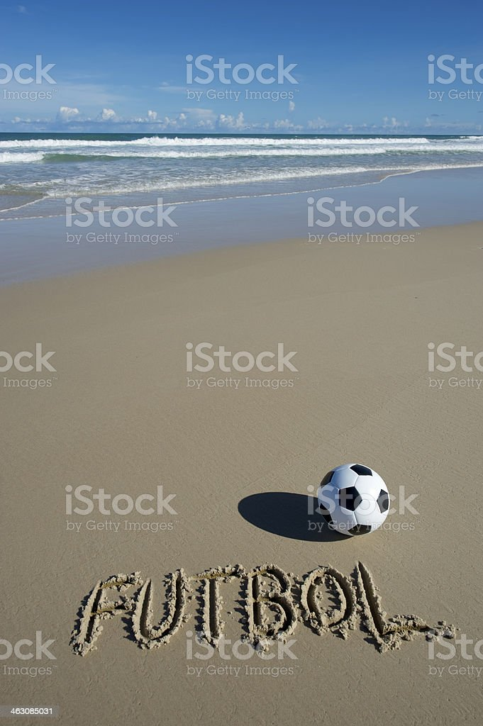 Futbol Message Football Soccer Ball on Wide Brazilian Tropical Beach stock photo
