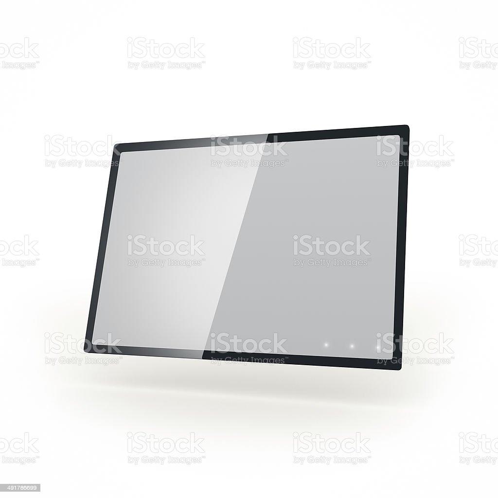 Futiristic touch screen black glass tablet stock photo