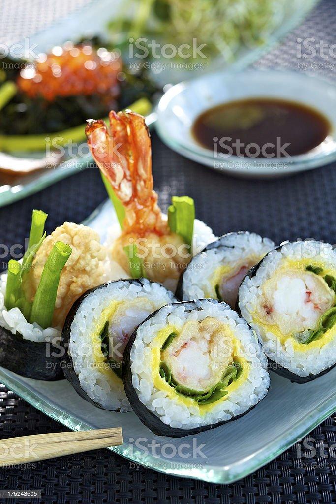 Futomaki sushi with tempura prawn stock photo