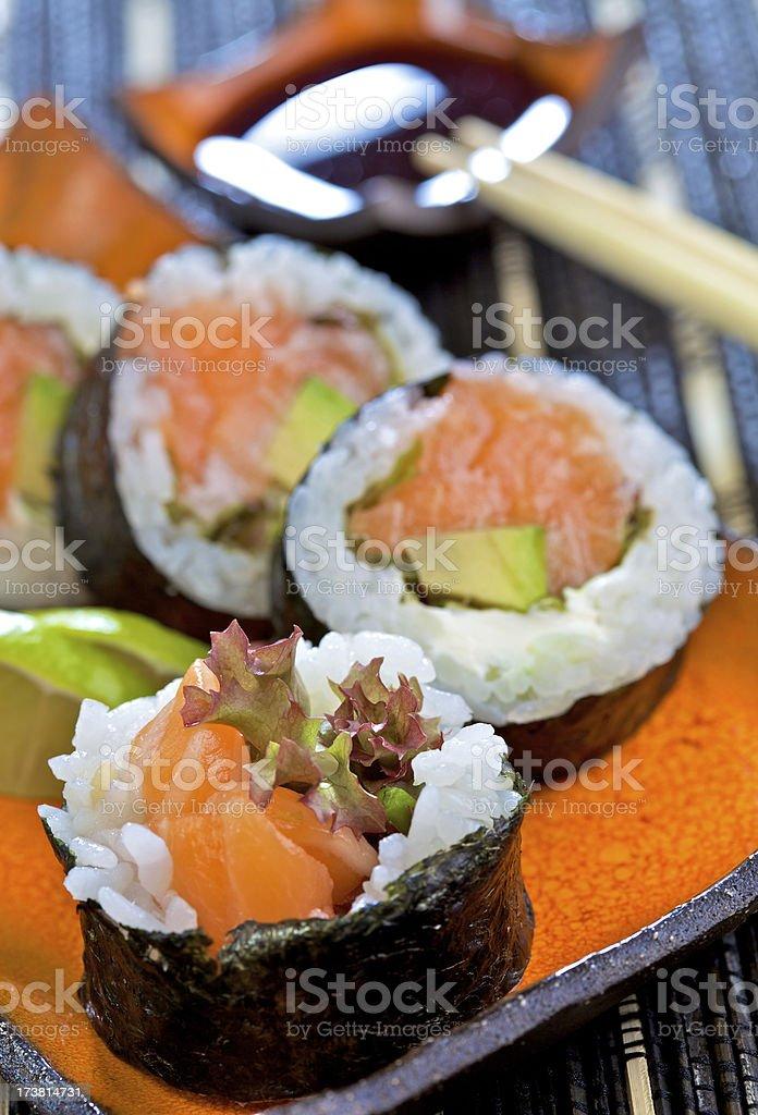 Futomaki with salmon royalty-free stock photo