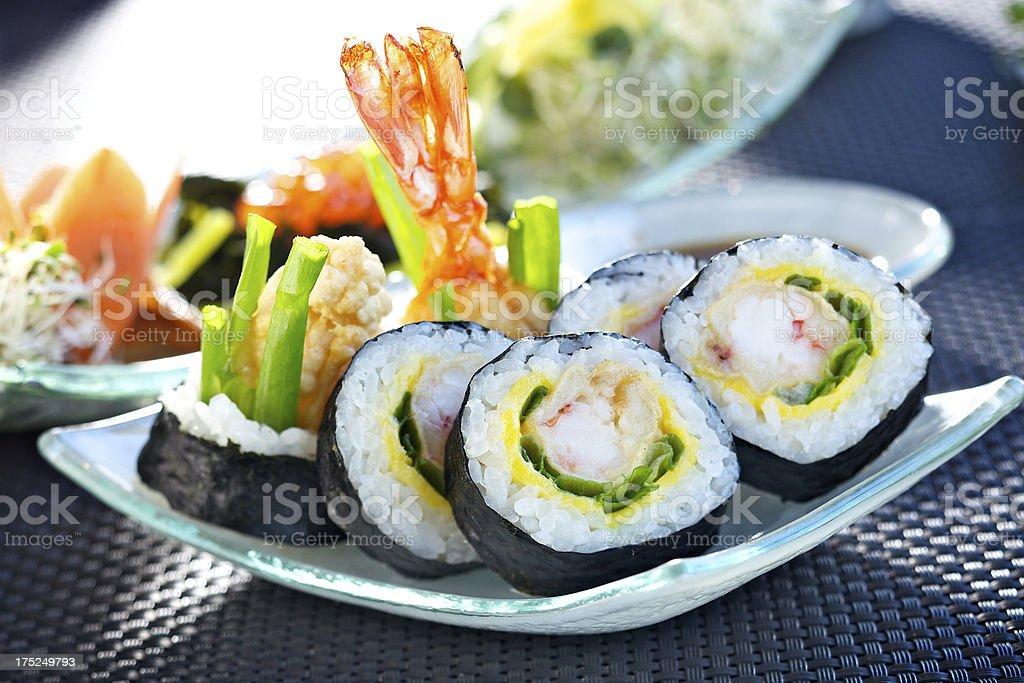 Futomaki with tempura prawn stock photo