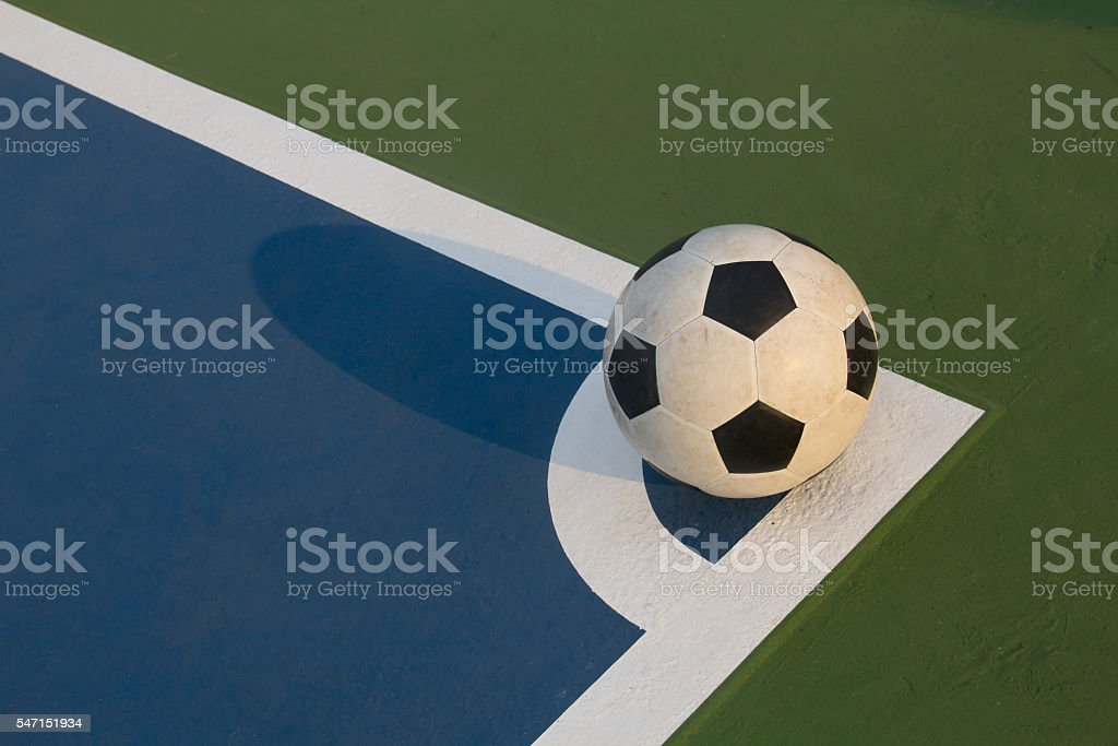 futsal ball at the corner of field stock photo