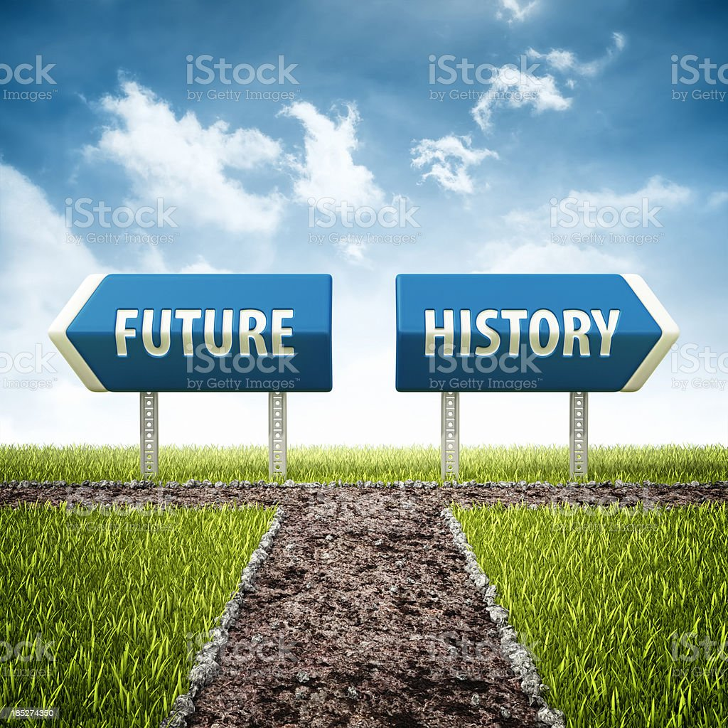 future and history crossroad stock photo